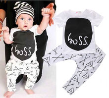 Cotton baby boys girls clothes short sleeve tops pants newborn outfits set 0~24