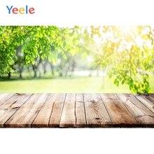 Fondos fotográficos personalizados para retratos de bebés con hojas verdes y árboles de piso de madera de Yeele para estudio fotográfico
