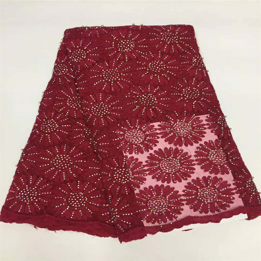 Wine color High quality Nigerian lace fabrics for wedding 2018 Latest african french lace fabric with beads and stones HJ608-1