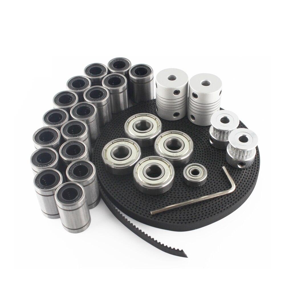 1 set 3D Printer Part 2m GT2 Belt Pulley + Bearing LM8UU 624ZZ 608ZZ Bearing 3D Printer for Reprap i