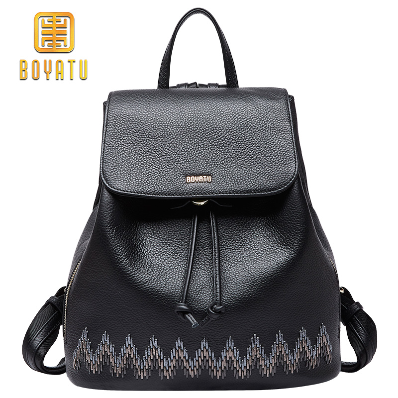 Luxury Genuine Leather For Women Fashion School Backpack Female Casual Shoulder Bag For Girl 2018 Purse fashion luxury genuine leather backpack women plaid stripe black soft casual shoulder bags female backpack girl school bag m007
