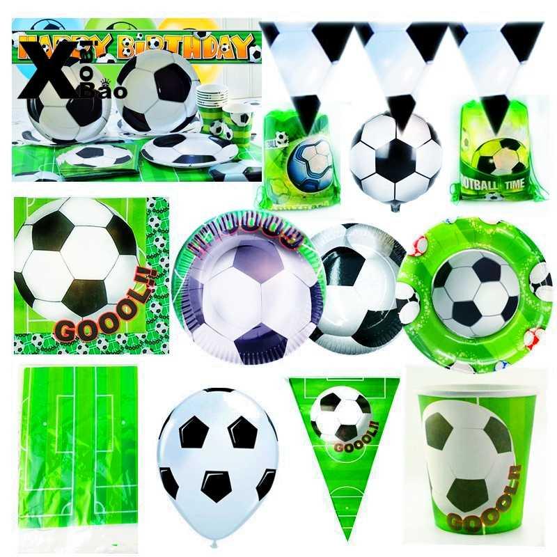 Футбол Спорт Студенческая тема бумажная посуда тарелка чашка баннер салфетки скатерть Топпер воздушный шар сумка подарок на день рождения
