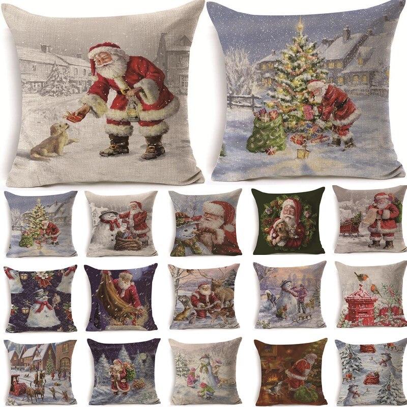 1Pcs 43*43cm Christmas Santa Claus Pattern Cotton Linen Throw Pillow Cushion Cover Car Home Sofa Decorative Pillowcase 40468