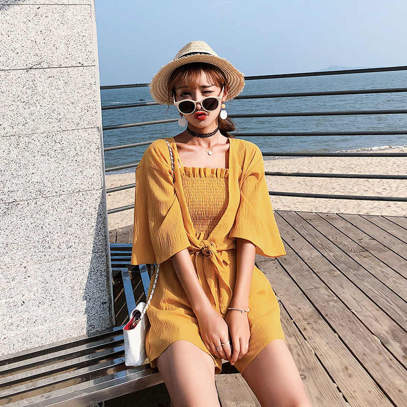 2019 summer women clothes set short pants thin cardigan and singlet three pieces set for fashion female