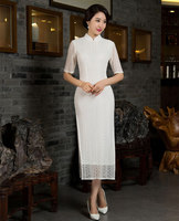 Elegant Chinese Women S Lace Cheongsam Hot Sale White Traditional Long Qipao Dress Mujer Vestido Size