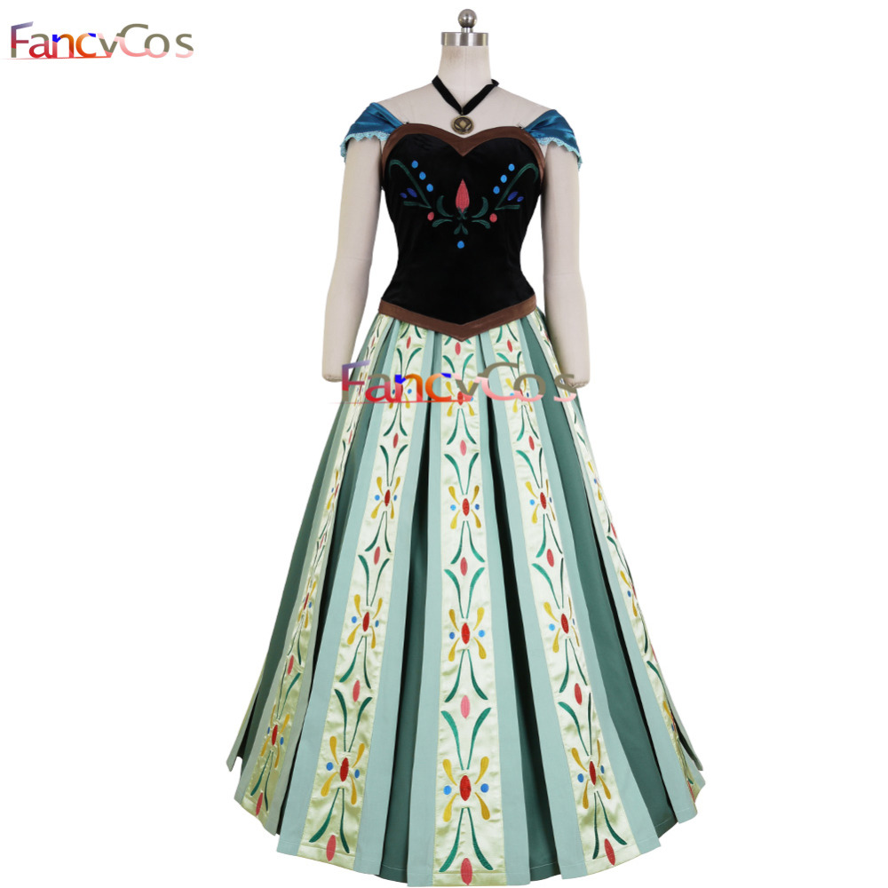 Halloween Women's Anna Dress Embroidery Costume Cosplay Adult Dress Girl Dress  Anime movie costume Custom Made