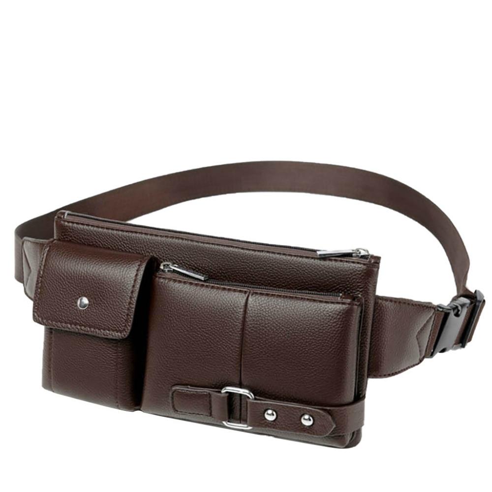 Fashion Men Retro Multi-function Pockets Outdoor Sports Leisure Messenger Chest Bag Leather Male Fanny Waist Packs Belt Bag