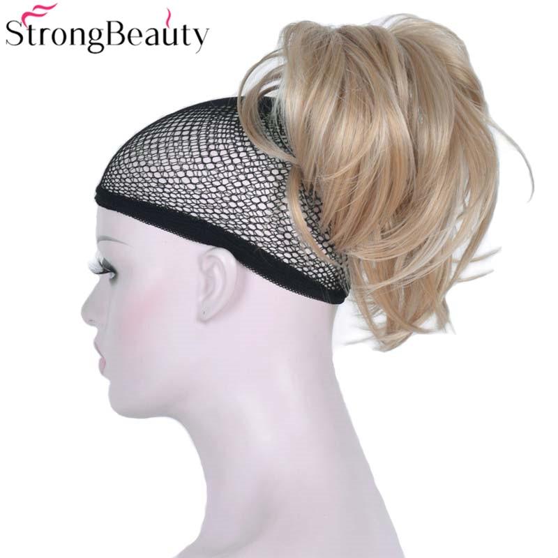 Synthétiques Courts Blonds Bouclés Bourgogne Cordon Queue de Cheval Queue de cheval Droit Clip Dans Postiches Styles Extensions de Cheveux 30 Couleurs