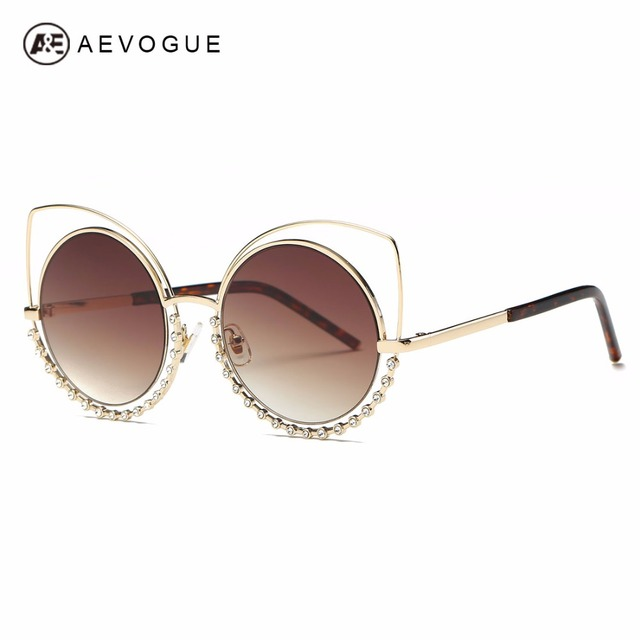 fc270fb1c9ef7 AEVOGUE Sunglasses Women Oversize Alloy Cat Eye Round Rhinestones  Decoration Frame Brand Designer Sun Glasses With