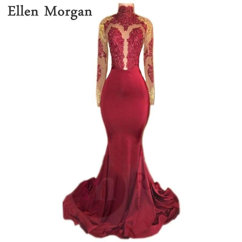 Long Sleeves Mermaid Backless Prom Dresses 2018 For African Black