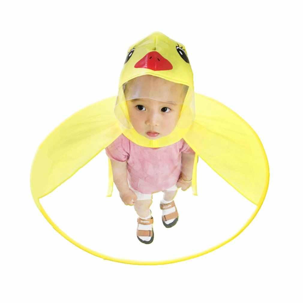 Capas de Chuva capa de Chuva Transparente UFO Mãos Livres Chuva das crianças Engraçado do Pato Do Bebê capa de Chuva Capa de Chuva Durável Capa De Chuva As Crianças tenda