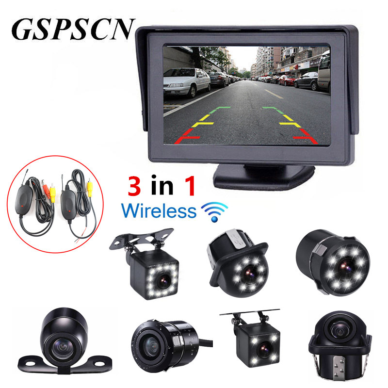 GSPSCN 3 in 1 Car 2.4G Wireless Transmitter Receiver +Parking Assistance Reverse Rear View Backup Camera with HD 4.3inch monitor
