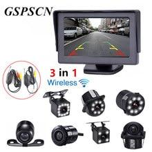 GSPSCN 3 в 1 Автомобиль 2,4 г Беспроводной приемник передатчик + Парковочные системы обратный заднего вида Камера с HD 4,3 дюймовый монитор