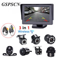 GSPSCN 3 In 1 Car 2 4G Wireless Transmitter Receiver Parking 170 Degrees Reverse Rear View