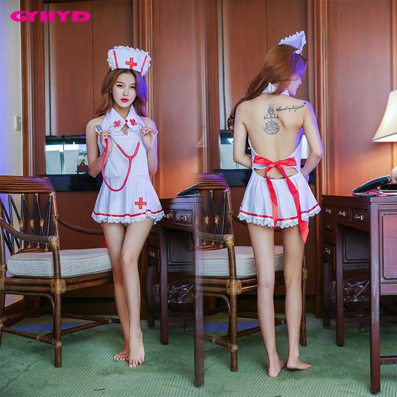 White Sex Uniform Temptation Cosply Role Playing Mini Dress+Headwear Sexy Nurse Costume ZYA-78