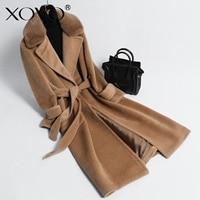 Wool coat mouton Coat female jacket women's fur woolen coat alpaca double sided wool cashmere coat female long section 2018 new