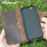 Natural Real Genuine Leather Wallet Case For IPhone 6 6S Plus Cell Phone Luxury Leather Strap