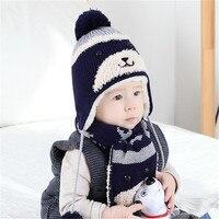 New 2Pcs Set New Child Winter Thicken Keep Warm Acrylic Hats Scarf Baby Cartoon Bear Knitted