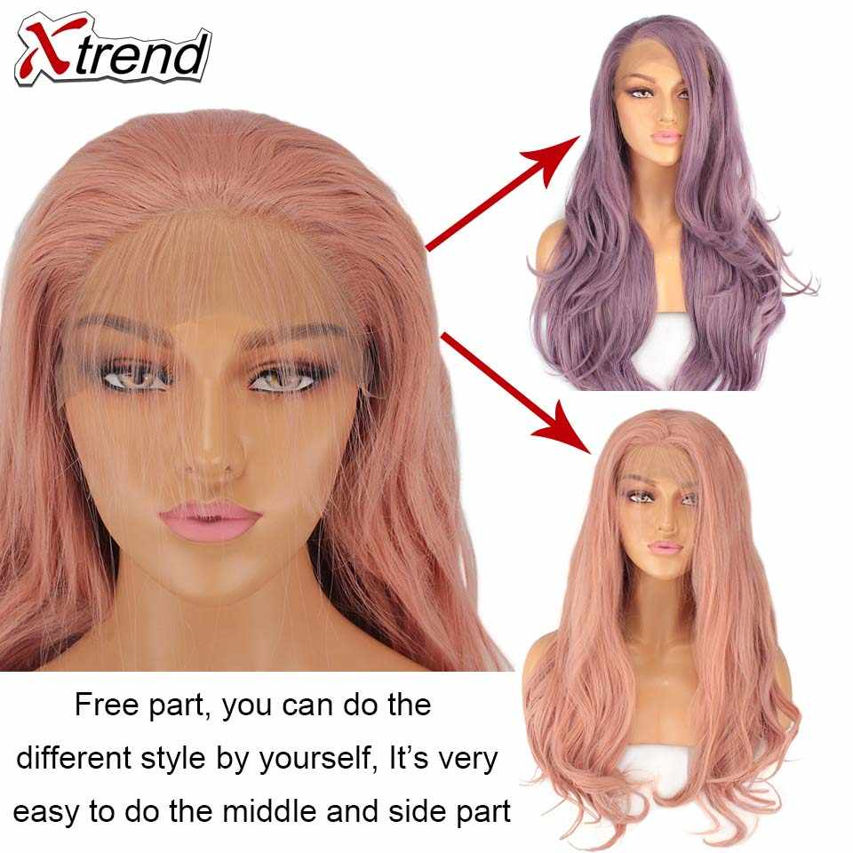 Xtrend Synthetic Lace Front Wig Long Pink Copper Red Purple Orange Green White Wigs For Black Women Wave Hair Female Peruca
