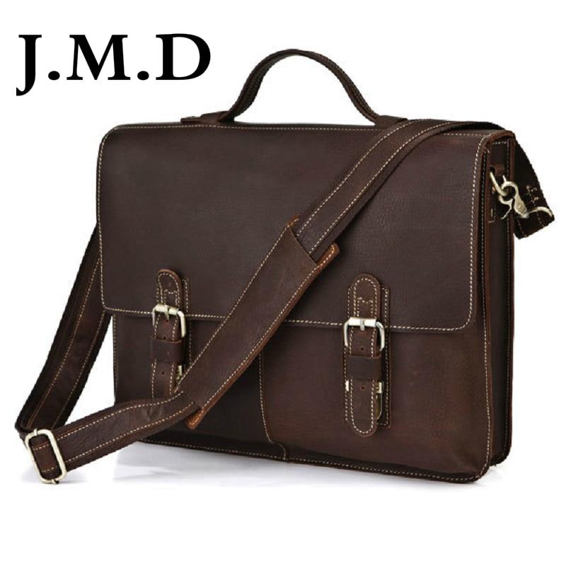 J.M.D 100% Classic Leather Fashion Vintage Crazy Horse Leather Men's Handbag Shoulder Messenger Bag Laptop Bag Briefcase 7090 247 classic leather