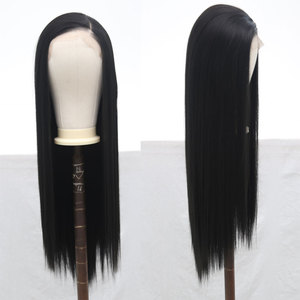 Image 3 - Bombshell Black Pink White Synthetic Lace Front Wig Glueless Straight Heat Resistant Fiber Hair Natural Hairline For Women Wigs