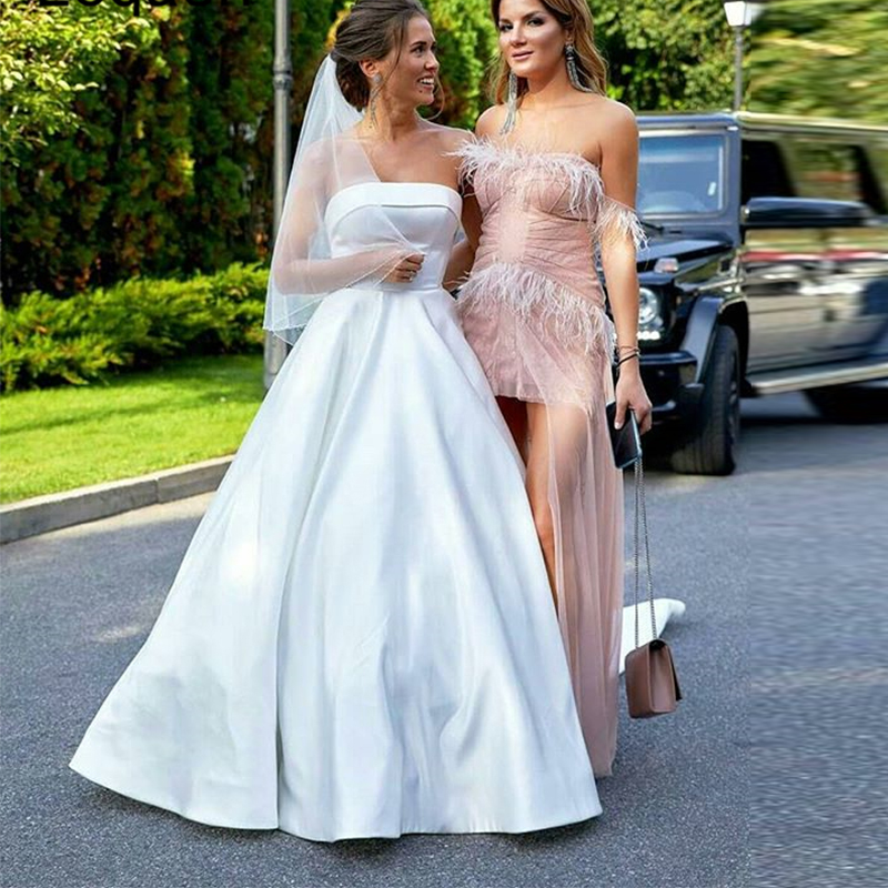 A-line Simple Wedding Dresses Strapless White Ivory Satin Wedding Gowns Backless Sweep Train Plus Size Bridal Vestidos De Novia