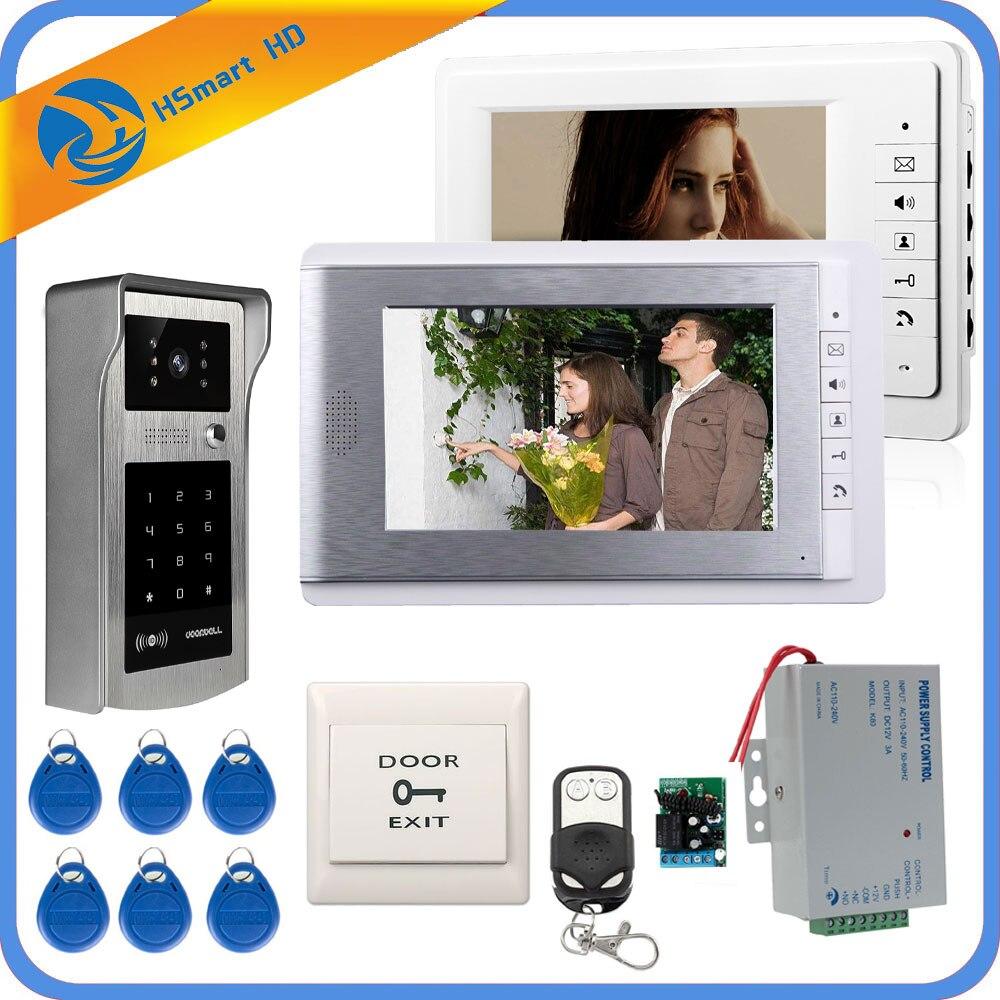 Filaire 7 pouces moniteur vidéo porte téléphone sonnette vidéo interphone système d'entrée + IR RFID Code clavier caméra + télécommande livraison gratuite