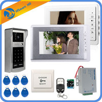 Wired 7inch Monitor Video Door Phone Doorbell Video Intercom Entry System + IR RFID Code Keypad Camera + Remote FREE SHIPPING