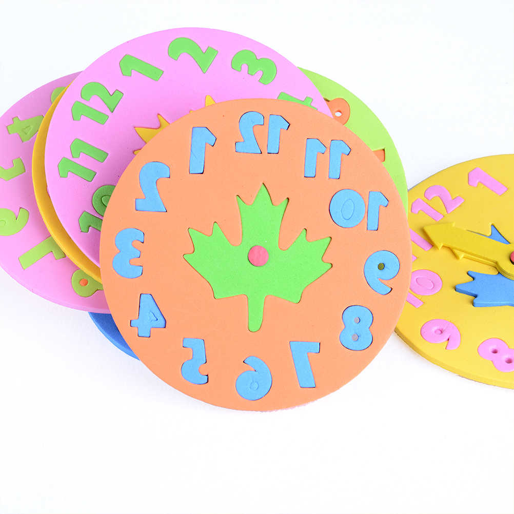 1 قطعة للأطفال 3-6 سنة الاطفال Clock بها بنفسك إيفا ساعة تعلم ألعاب تعليمية متعة بازل قطع لعبة