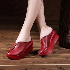 Image 5 - 정품 가죽 여성 샌들 레트로 수제 플랫폼 웨지 양모 하이힐 여름 신발 휴관일 발가락 comfotable 여성 슬라이드