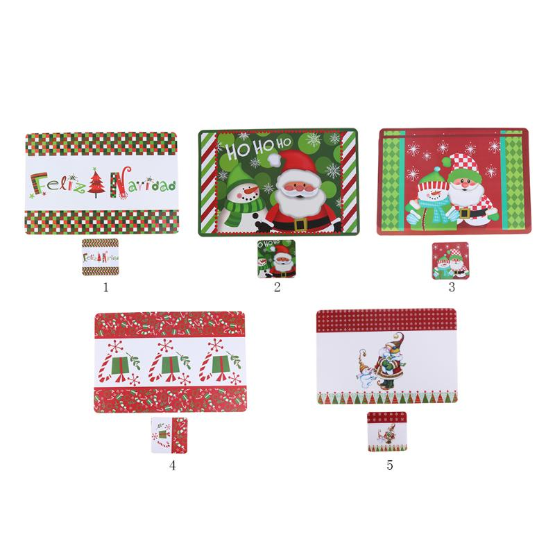 6pcs Christmas Table Mat Knife Fork Cover Santa placemat Dinner Decor Xmas Dish Cup Non-Slip Mat Christmas Decoration For Home