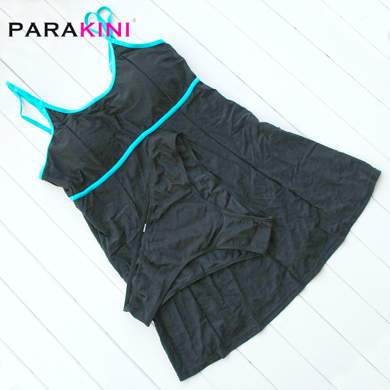 PARAKINI 2018 New Sexy Stripe Padded Halter Skirt Swimwear Women One Piece Swimsuit Beachwear Bathing Suit Dress Plus Size M-3XL 5