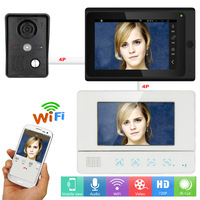 7 2 Monitors Video DoorPhone Doorbell Intercom Wired /Wireless Wifi System with IR CUT HD 1000TVL Wired Camera