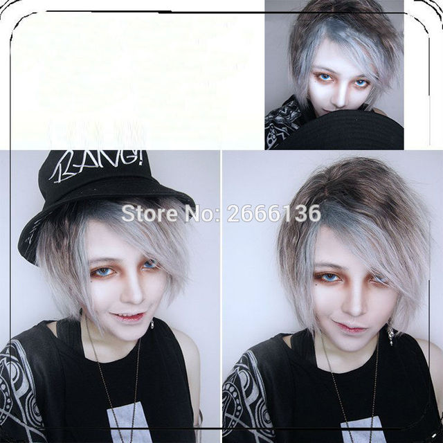 35cm Black and gray gradient Wig cosplay brother handsome guy male models lolita Harajuku male short wig No headwear