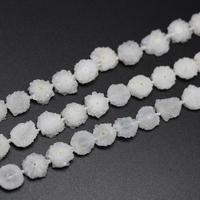 Approx 30pcs/str White Solar Quartz Sun Flower Shaped Loose Beads,Natural Druzy Raw Drusy Crystals Drilled Slab Pendants Bulk