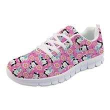NOISYDESIGNS Brand Designer Nurse Comfortable Shoes flat Women Pink Flower Power Pattern Mesh Light Lace Up Girls