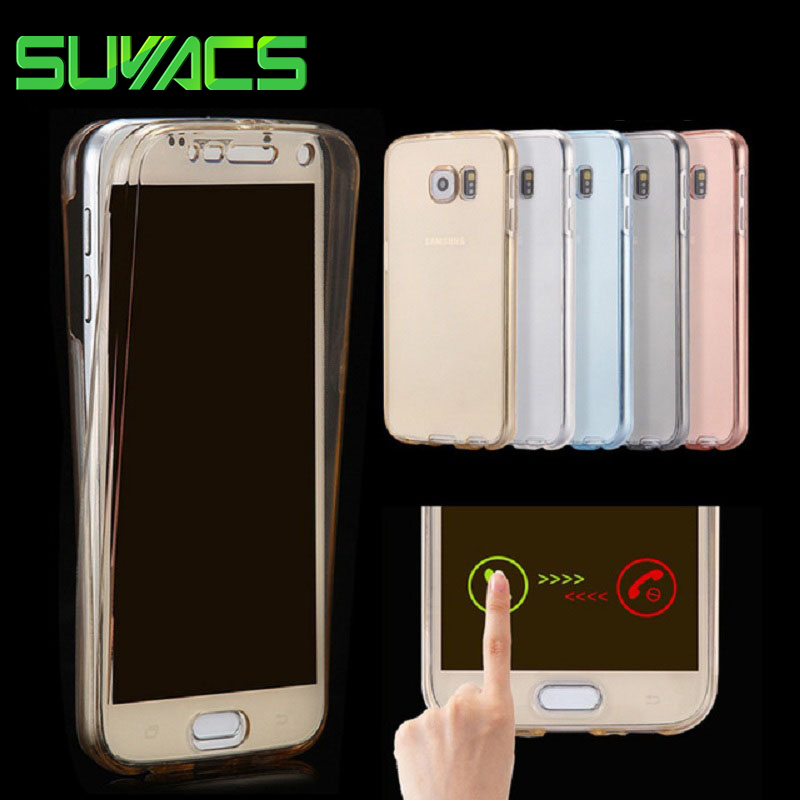 SUYACS For Samsung A3 A5 A7 A8 J1 J2 J3 J5 J7 (2015)(2016)(2017) Full Body Cover Ultrathin Clear TPU Soft Double Phone Cases