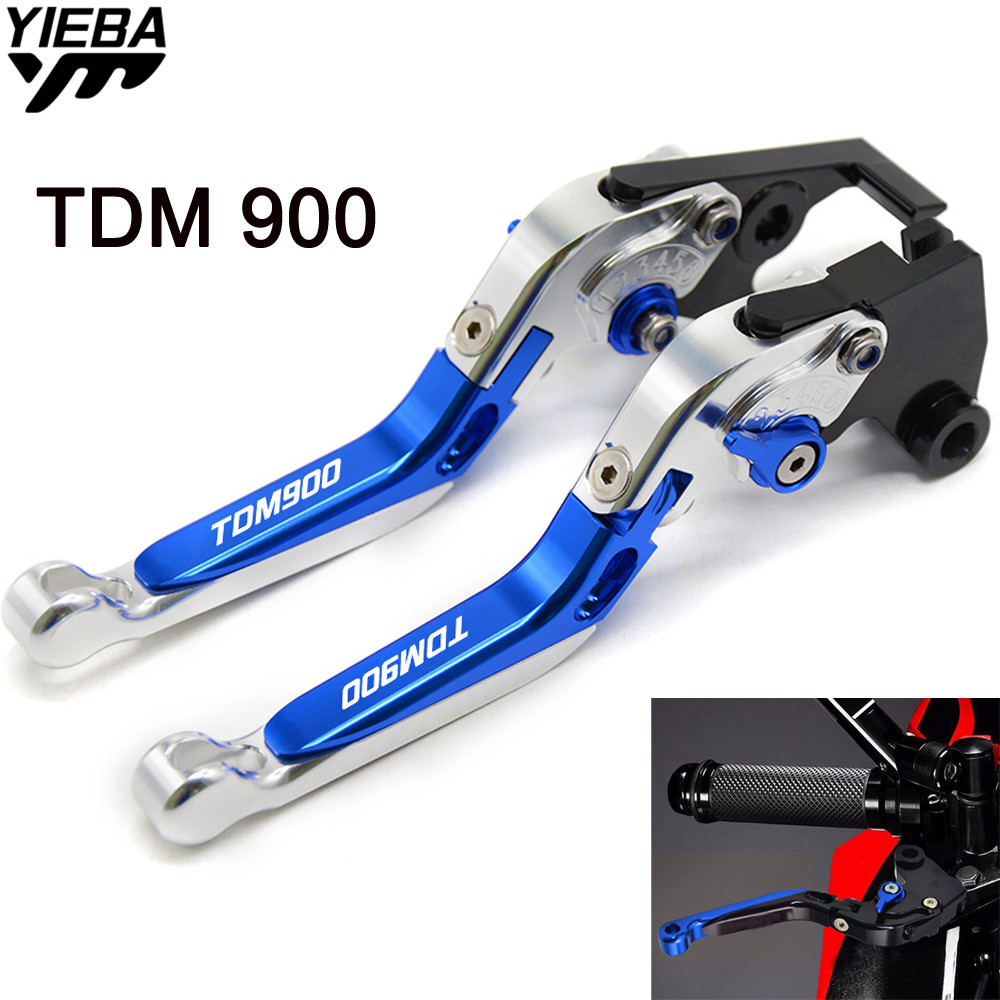 Motorcycle Accessories CNC Billet Aluminum Folding Extendable Brake Clutch Levers LOGO FOR YAMAHA TDM900 TDM 900 2012 2013 2014 cnc adjustable motorcycle billet foldable pivot extendable clutch