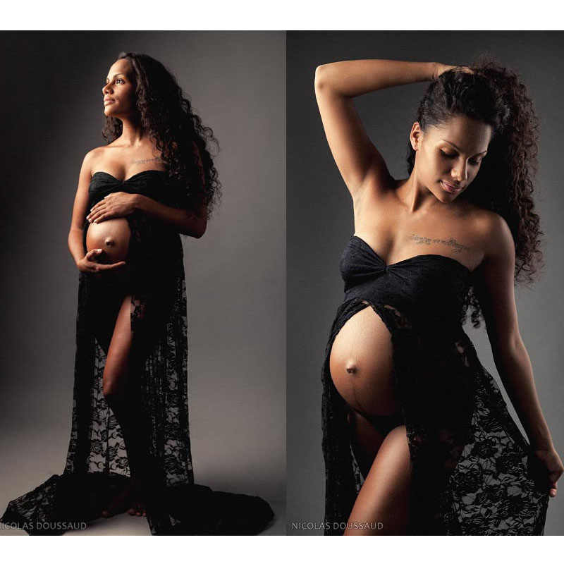 Shoulderless Lace Maternity Photography Props Dresses For Pregnant Women Pregnancy Clothes Maternity Dresses For Photo Shoot