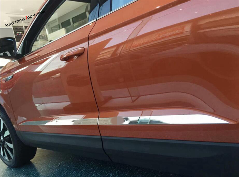 Yimaautotrims For Skoda Karoq 2018 Stainless Steel Side Car Door Molding Body Strip Streamer Overlay Strip Exterior Cover Trim for jeep cherokee 2014 2016 stainless steel auto side door body molding line trim streamer exterior car styling accessories 4pcs