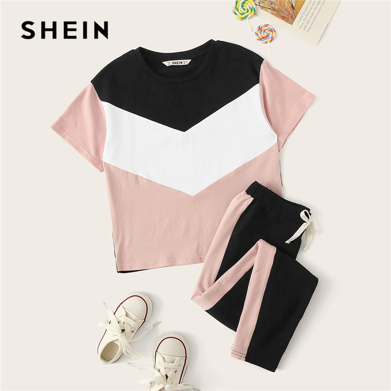 SHEIN Kiddie Girls Colorblock T-Shirt And Drawstring Waist Pants Set Children 2019 Summer Active Wear Short Sleeve Suit Sets v neck drawstring waist dress