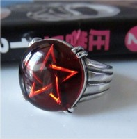 Trend silver 925 pure silver male red pentacle ring punk jewelry