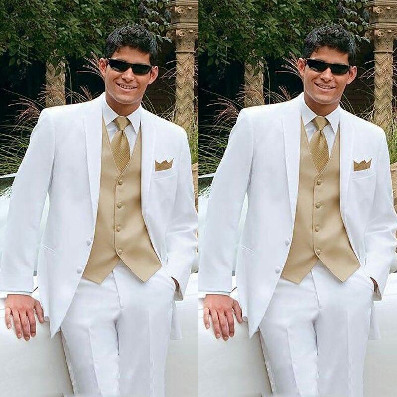 Latest Coat Pant Designs Men White Suits For Wedding Groom Tuxedo 3Piece Man Blazer Costume Homme Prom Slim Fit Terno Masculino