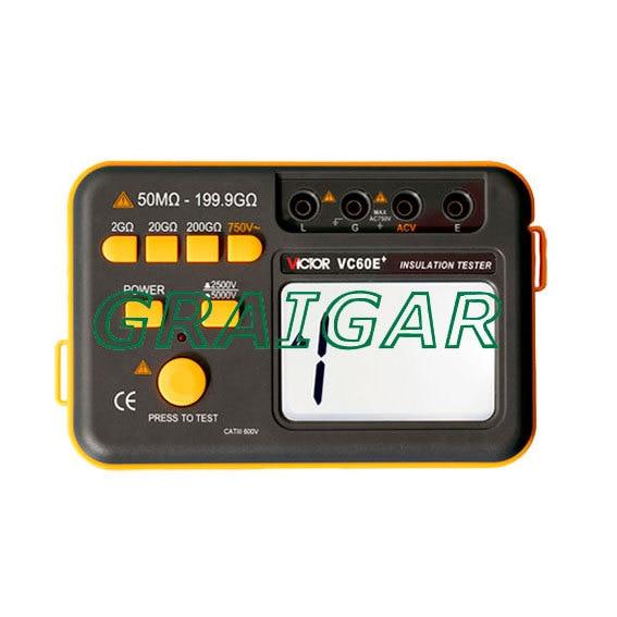Новый Тип Виктор VC60E + цифровой тестер изоляции 50 м ~ 199,9 г Ом, 2500 В 5000 В, мегомметром МОМ Сопротивление метр, бесплатная доставка