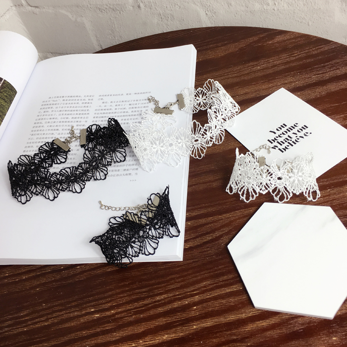 Бесплатная доставка! Оптовая Продажа Модные женские белые пикантные полый кружева цепи шеи Свадьба Аксессуар jewelry Чокеры ожерелье