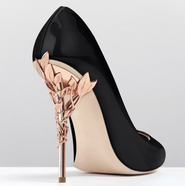 d0ed34fec57 2018 Spring Summer Newest Metal Decoration Heels Dress Pumps Black Pink  Nude Patent Leather Pointed Toe Party Shoes Sweet Pumps