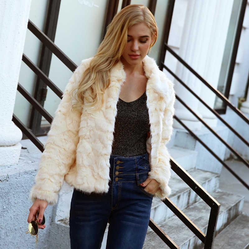 2018 nueva chaqueta de abrigo de piel de conejo de imitación de color blanco de Otoño Invierno para mujer