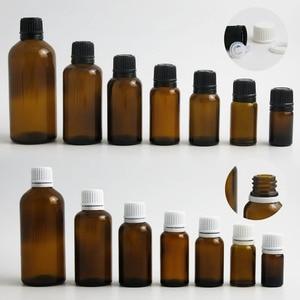 Image 1 - 200 x 100ML 50ML 30ML 20ML 10ML 5ML l Empty Small Amber Boston Round Glass Essential Bottle  White Black Tamper Evident Cap