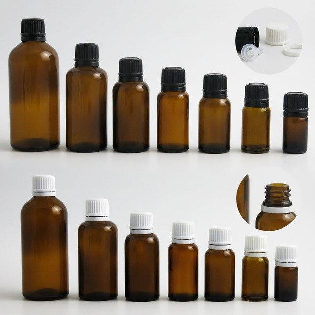 200 x 100ML 50ML 30ML 20ML 10ML 5ML l Empty Small Amber Boston Round Glass Essential Bottle  White Black Tamper Evident Cap