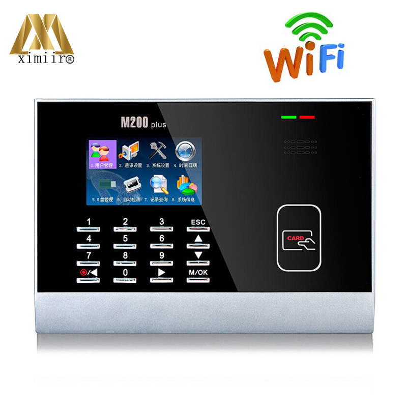Linux System Color Screen Office Time Clock Employee Attendance Device M200plus With MF IC Card And WIFI Time Attendance Machine